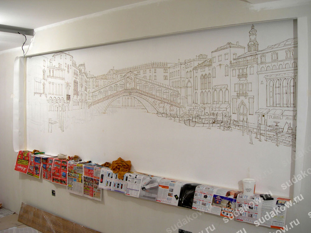 Рисунки своими руками на большой стене